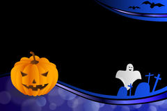 背景抽象深蓝色万圣夜橙色南瓜棒鬼魂框架例证 库存图片