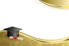 背景抽象米黄教育毕业盖帽文凭红色弓金框架例证 免版税库存图片