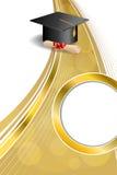背景抽象米黄教育毕业盖帽文凭红色弓垂直的金丝带圈子框架例证 免版税图库摄影