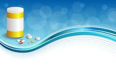 背景抽象蓝色白色医学压片红色药片塑料黄色瓶包裹框架例证 库存照片