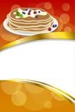 背景抽象食物薄煎饼在莓果蓝莓莓红色黄色薄荷的绿色框架垂直的金丝带涂黄油 免版税库存图片