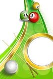 背景抽象绿色台球撞球杆红色球框架垂直的金圈子丝带例证 库存图片