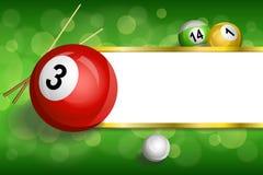 背景抽象绿色台球撞球杆红色球框架镶边金例证 免版税库存照片