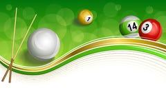 背景抽象绿色台球撞球杆红色白色黄色球金框架例证 库存图片
