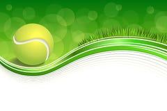 背景抽象绿草体育白色网球黄色球框架例证 免版税图库摄影