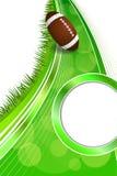 背景抽象绿草橄榄球橄榄球球金圈子垂直的框架例证 免版税库存图片