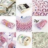 背景拼贴画美元欧元货币 免版税库存照片