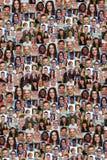背景拼贴画小组多种族青年人社交媒介 免版税图库摄影