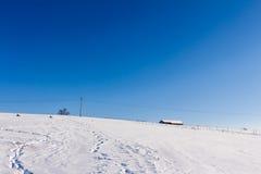 背景捷克最高的横向山snezka冬天 库存图片