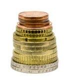 背景接近的硬币构思设计要素欧元注标增长收入查出的损失其他一个显示到二白色 库存照片