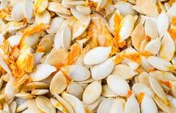 背景接近的食物南瓜籽 免版税库存照片