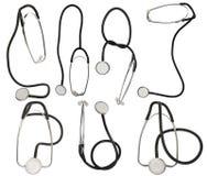 背景收集stetoskop白色 库存照片
