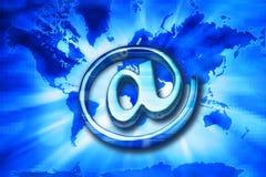 背景数字式电子邮件映射世界 免版税库存照片