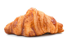 背景新月形面包新查出的白色 新月形面包是法国月牙形的卷由甜酥饼制成 免版税库存照片