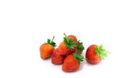 背景新草莓白色 免版税库存照片