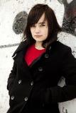 背景方式女孩街道画青少年的白色 库存图片