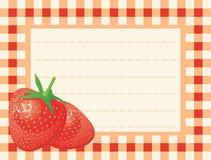 背景方格的成熟草莓 库存例证