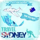 背景旅行向悉尼 也corel凹道例证向量 免版税库存照片