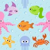 背景无缝与海洋动物 库存图片