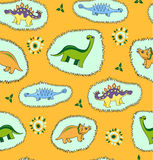 背景无缝恐龙的模式 库存图片