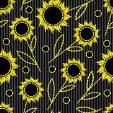背景无缝的向日葵 免版税库存图片