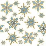 背景无缝的向量 装饰冬天雪花 皇族释放例证