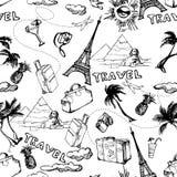 背景无缝的旅行 手拉的暑假样式 向量 库存图片