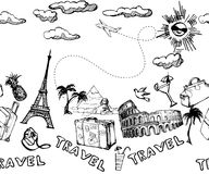 背景无缝的旅行 手拉的暑假样式 向量 库存照片