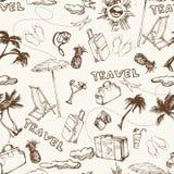 背景无缝的旅行 手拉的暑假样式 向量 图库摄影