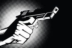 背景明亮的例证桔子股票 人的手仿照流行艺术和老漫画样式的 武器在手中和射击的声音 免版税库存照片