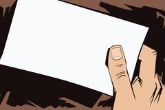 背景明亮的例证桔子股票 人的手仿照流行艺术和老漫画样式的 空白的纸片您的消息的在man 库存照片