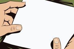 背景明亮的例证桔子股票 人的手仿照流行艺术和老漫画样式的 空白的纸片您的消息的在man 免版税库存照片