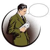 背景明亮的例证桔子股票 减速火箭的样式流行艺术和葡萄酒广告的人们 有报纸的人 泡影图象人员演讲联系的向量 免版税库存照片