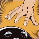 背景明亮的例证桔子股票 流行艺术和老漫画样式  有保龄球的手 库存图片