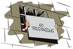 背景明亮的例证桔子股票 监狱 手拿着一个标志 库存图片