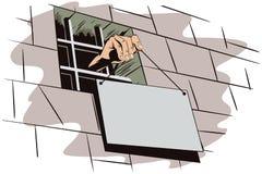 背景明亮的例证桔子股票 监狱 手拿着一个标志 库存照片