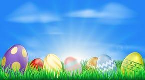 背景明亮的复活节彩蛋 图库摄影