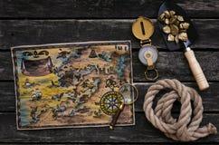 背景映射老纸珍宝向量 冒险家桌 免版税图库摄影