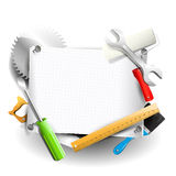 背景木匠业在木头之下的板条工具 库存例证