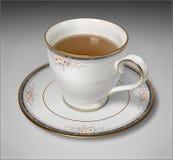 背景杯子查出的茶白色 免版税库存照片