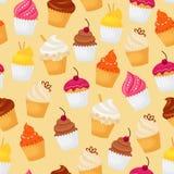 背景杯形蛋糕例证查出模式桃红色无缝的白色 库存图片