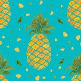 背景果皮菠萝 水彩无缝的样式 免版税库存照片