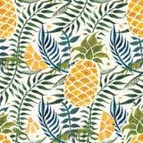 背景果皮菠萝 水彩无缝的样式 免版税库存图片