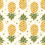 背景果皮菠萝 水彩无缝的样式 库存照片