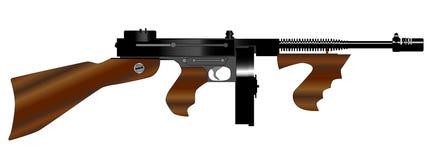 背景枪submachine托米白色 免版税图库摄影