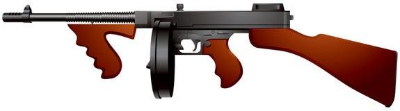背景枪submachine托米白色 库存例证
