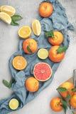 背景柑橘准备好的文本 与叶子的被分类的新鲜的柑橘水果 Gra 免版税库存照片