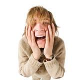 背景查出的人不快乐的空白年轻人 免版税库存图片