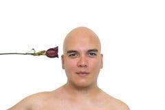背景查出的人红色玫瑰白色 库存照片