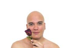背景查出的人红色玫瑰白色 免版税库存照片